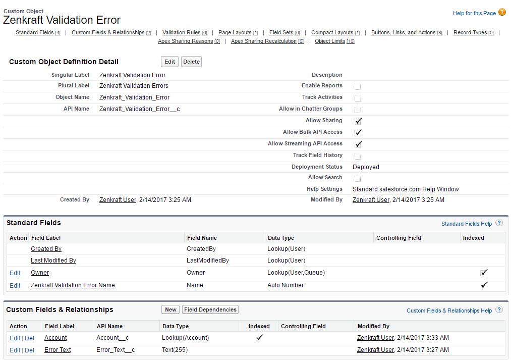 Custom Object Zenkraft Validation Error Salesforce Enterprise Edition