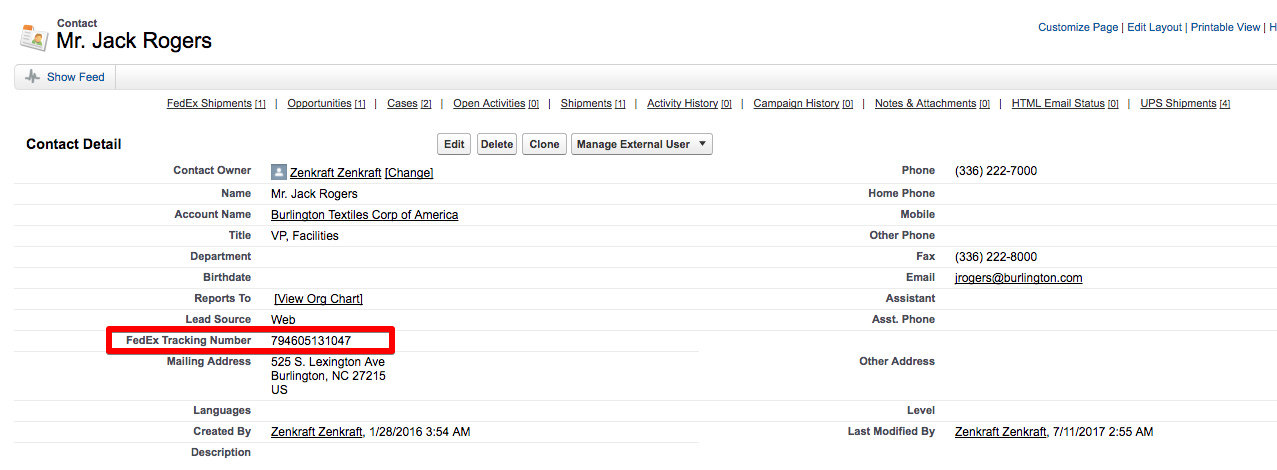 Using Process Builder to Add FedEx Tracking Number to your Contact