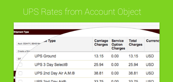 request ups rates from the account object